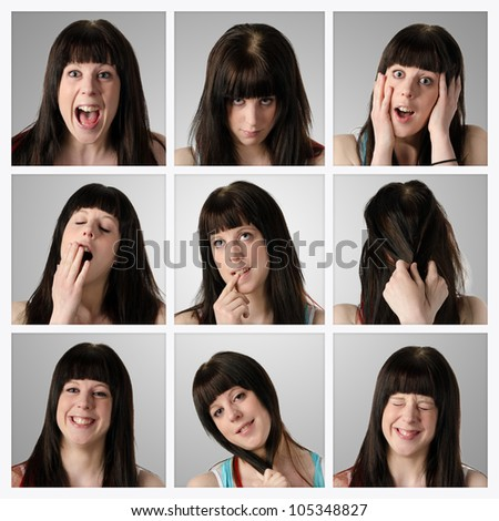 Collage of nine different facial expressions by an attractive young brunette woman -  very high resolution