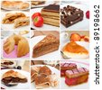 Collage of Nine Various Pies, Dessert and Cakes - stock photo