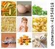 collage of pasta - stock photo