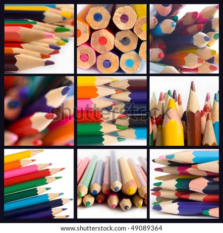 collage of pencils