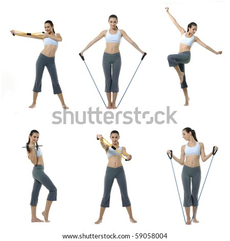 Collage of Photo of young woman exercising yoga and exercising with expander