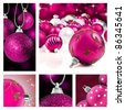 Collage of pink  christmas decorations on different backgrounds - stock photo