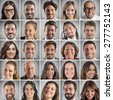 Collage of portrait of many smiling faces - stock photo