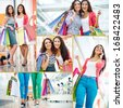 Collage of pretty girls with paperbags shopping in trade center - stock photo