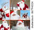 Collage of Santa Claus and his reindeer outdoor in winter - stock photo