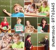 Collage of schoolchildren in studying process and education objects - stock photo
