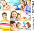 Collage of schoolkids during studies in school - stock photo