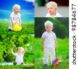 Collage of several photos. cute boy and different children's emotions. design template - stock photo