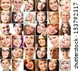 Collage of smiling faces. Collection of beautiful human faces with wide smiles and great healthy white teeth. Isolated over white background  - stock photo