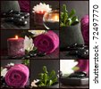 Collage of spa details with candles, towel and massage stones. - stock photo