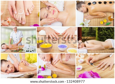Collage of spa treatments young woman