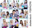 Collage of students at college learning and eating - stock photo
