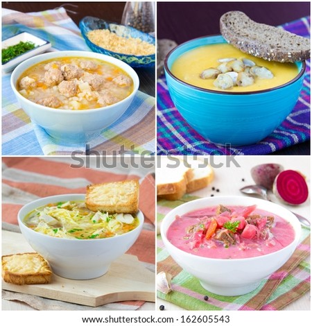 Collage of tasty soup
