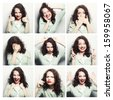 Collage of the same woman making diferent expressions - stock