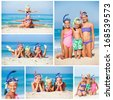 Collage of three happy children on beach with colorful face masks and snorkels, sea in background. - stock photo