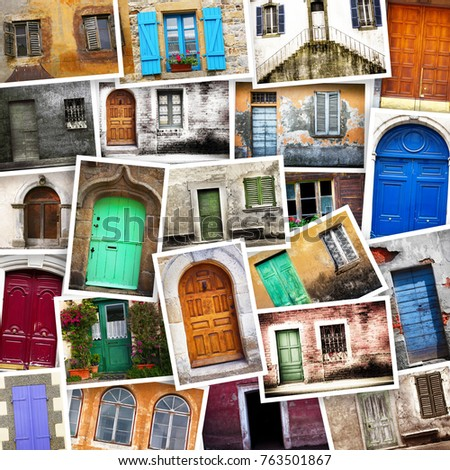 Large Collage Different Doors Gates All Stock Photo