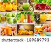 collage of various juice - stock photo