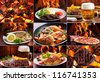 collage of various meals with meat, fish and chicken - stock photo