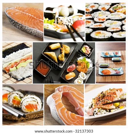 collage of various types of japanese sushi and sashimi