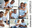 Collage of young African couple at home - stock photo