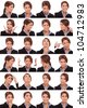 Collage of young business  woman's  different facial expressions - stock