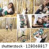 Collage of Young pair in wood. Beautyful latin america paar - stock photo