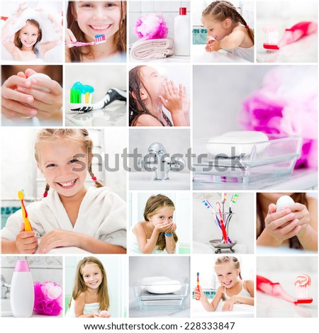 collage photo. little cute girl takes a bath