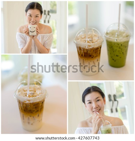 collage picture of women drinking ice coffee in coffee shop