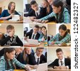Collage school life in classroom: young students of high school - stock photo