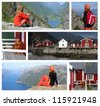 collage -  travel by  norway - stock photo
