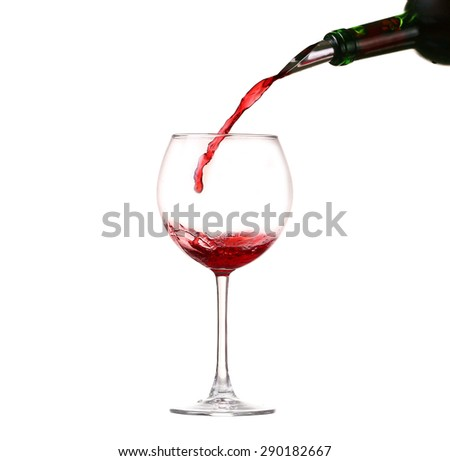 collage Wine collection - Splashing red wine in a glass. Isolated on white background and pourer