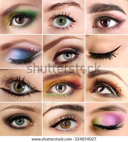 Collage with beautiful female eyes
