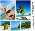 Collage with caribbean beach - stock photo