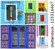 collage with colorful rustic windows - stock photo