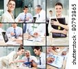 Collage with concept of woman leader - stock photo