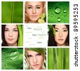 Collage with four beautiful healthy women, green leaves and plants. Organic skincare, beauty, health. Copy space. - stock photo