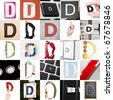Collage with 25 images with letter D - stock photo