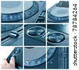 Collage with parts of dj cd player - stock photo