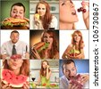 collage with people eating food - stock photo
