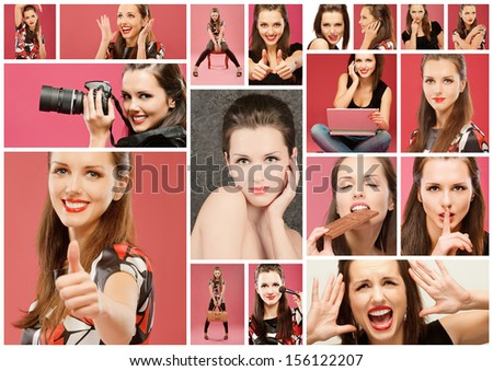 Collage with photos of girls in different situations, especially on red background.