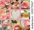 Collage with pink roses bouquet and hearts of stone - stock photo