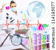 Collage with scientists working with liquids at laboratory - stock photo