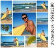 Collage with surfer with surf board on tropical beach, Dominican Republic - stock photo