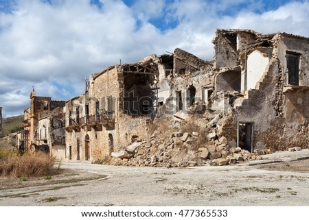 Collapsed buildings after an earthquake in Belice valley, Sicily