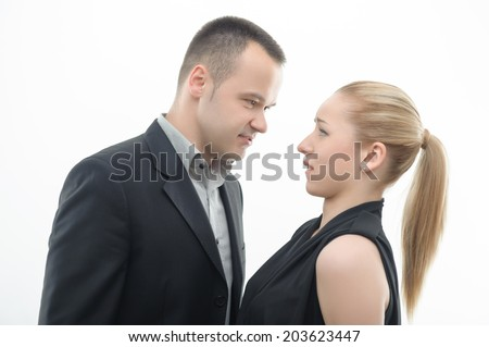 Colleagues shouting against each other, man is dominating over woman, isolated on white background