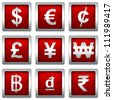 Collect Of Square Red Metallic With Silver Border Plate For Currency Symbols Isolated on White Background - stock photo