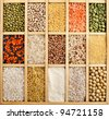 collection assorted of lentils, beans, peas,  grain ,groats, soybeans, legumes in wooden box  close up macro top view  backdrop - stock photo