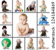 collection baby photos on a white background - stock photo