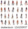 "collection "" back view of going people with shopping bags "" .  backside view of shopping woman and man.  Rear view people collection. Isolated over white background. - stock photo"