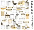 collection canned food - stock photo